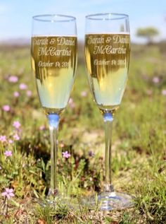 Engraved champagne flute set for just $22.00. ScissorMill.com #outdoorwedding
