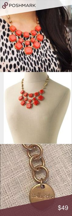 """Stella & Dot Olivia Bib Necklace In Excellent Condition..Rate 9.5/10. No signs of wear and very clean. Vintage statement necklace by Stella & Dot. Layers of bright coral-hued epoxy stones suspend from a delicate gold plated brass necklace. The perfect preppy bib. 16 1/2"""" in length plus 2"""" extender, lobster claw closure, lead & nickel safe. Stella & Dot Jewelry Necklaces"""