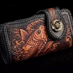 High quality fish design carving cow hide leather wallet for women: Price 240$+FREE SHIPPING #Handmade #Bifold #Wallet #Fashion