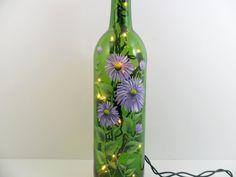 Lighted Wine Bottle Lavender Daisy Hand by PaintingByElaine, $30.00