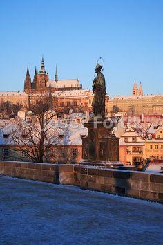 Prague Castle from the Charles Bridge with the statue of Saint John Nepomuk in foreground, Prague, Czech Republic - Josef Fojtik Photography Charles Bridge, Prague Castle, Saint John, Prague Czech, Czech Republic, Saints, Statue, Mansions, House Styles