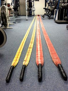 DIY Battle Ropes- Good for Crossfit and bootcamp type workouts. Just go to your local fire dept. and get an out of service fire hose for FREE. Take whatever you can get but a inch hose is good size (go bigger or smaller depending on how hard you wanna Crossfit Equipment, Crossfit Gym, Home Gym Equipment, No Equipment Workout, Homemade Gym Equipment, Gym Workouts, At Home Workouts, Workout Exercises, Cardio Gym