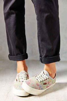 Vans Authentic Slim Suede Floral Low-Top Womens Sneaker - Urban Outfitters