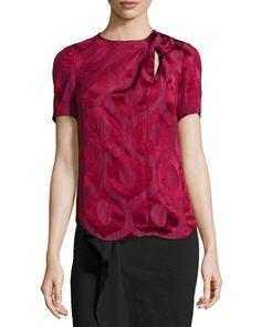Short-Sleeve Twisted-Keyhole Blouse, Raspberry - Isabel Marant