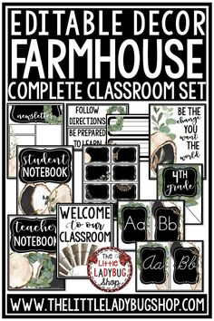 You will love the Magnolia Farmhouse Class Decor Bundle. This set is unique and will have so many class options to meet your needs all year long and for years to come. This decor bundle works great in any classroom, including posters, name plates, alphabet posters, teacher notebook, organization labels. #farmhouseclassdecor #farmhousedecor #farmhousedecor