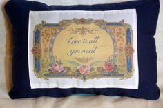 Navy Blue Linen Pillow  decorative pillow  by JulieButlerCreations