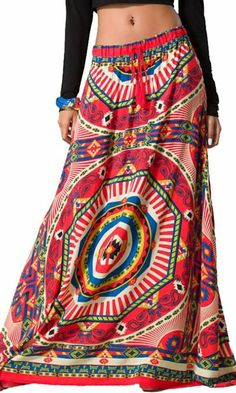 Amazon.com: Womens Sexy Coral Red Geometric Tribal Print Ethnic Gypsy Long Boho Maxi Skirt: Clothing