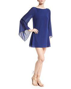 TBN1Z Alice + Olivia Eleonora Chiffon Mini Dress, Blue