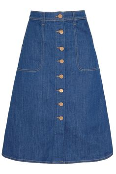 MiH Jeans | The Midi Button Through stretch-denim skirt