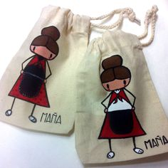 "Bolsas modelo ""Maña"" pintadas a mano. Trunks, Swimming, Swimwear, Fashion, Templates, Bags, Chic, Blue Prints, Colors"
