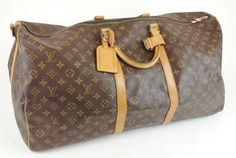 Louis Vuitton Monogram Canvas Leather Keepall 50 Duffel Travel Luggage Brown Monogram Travel Bag $495