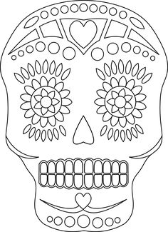 Sugar Skull - Free Day of the Dead Digital Stamp Skull Coloring Pages, Colouring Pages, Coloring Books, Coloring Sheets, Day Of Dead, Day Of The Dead Skull, Sugar Skull Art, Sugar Skulls, Candy Skulls