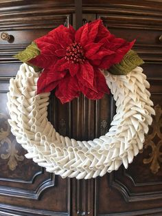 white and red burlap wreath Spring summer folded fabric,Swedish braid petal wedding rustic farmhouse bubble hessians door decor hangers White and red burlap wreath Spring summer folded Autumn Wreaths For Front Door, Xmas Wreaths, Christmas Decorations, Winter Wreaths, Frame Wreath, Diy Wreath, Burlap Wreaths, Poinsettia Wreath, Fabric Wreath