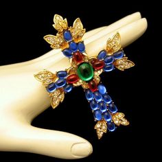 TRIFARI Vintage Maltese Cross Brooch Pin Pendant Large Glass Stones Rhinestones #Trifari