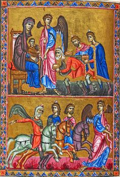 https://flic.kr/p/qJPtJ1 | Adoration of the three Magi [about 1135] | Adoration of the three Magi (The three Magi are represented as three ages of man: Youth, Adult, Aged) Their crowns are really tiny.  London BL Egerton MS 1139 Folio-2v  [1131-43 CE]  The Melisende Psalter (London, British Library, MS Egerton 1139) is an illuminated manuscript commissioned around 1135 in the crusader Kingdom of Jerusalem, probably by King Fulk for his wife Queen Melisende.  Source: <a…