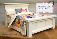"I want to make this!  DIY Furniture Plan from Ana-White.com  A doll bed modeled after our Farmhouse Beds, suitable for 18"" dolls. This bed is slightly wider than traditional doll beds, to look more like our Farmhouse Beds."
