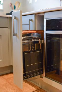 Example of clever kitchen storage. Clever Kitchen Storage, Mr And Mrs Smith, Double Shower, Bespoke Kitchens, Open Plan Living, New Builds, French Door Refrigerator, New Kitchen, Building A House