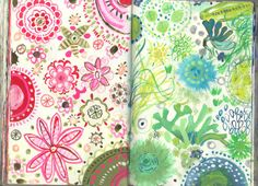 3.29&30 #art #journal #sketchbook by August Wren.  Monochromatic opposing pages.  Nice idea for zentangles or any doodles.