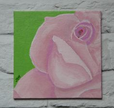 Rose, floral art, pink, green, acrylic painting, small art, home decor
