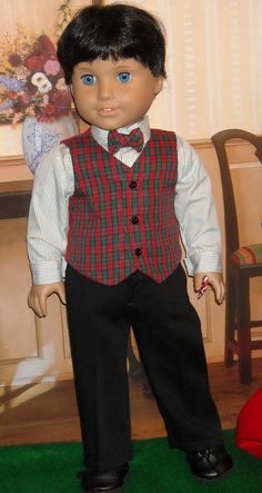 This classic pants, vest, and shirt might be something for your 18 inch boy to wear to a holiday party. Boy Doll Clothes, Doll Clothes Patterns, Boy Clothing, Doll Patterns, American Boy Doll, American Doll Clothes, Ag Dolls, Girl Dolls, 18 Inch Boy Doll