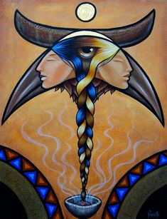 'Grandmothers' by Aaron Paquette. This is a painting of my grandmothers. Like the twisting of the braid, the winding road that lead our forebears to meet and mix and create has lead right down to us, caught in the plaiting of history and t. Native American Artwork, Native American Artists, American Indians, Canadian Artists, Claudia Tremblay, Indigenous Art, Native Art, Native Style, Aboriginal Art