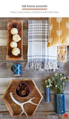 These top picks from Target Home Style Expert, Emily Henderson, are all about mixing textures and patterns to capture the rich characteristics of fall. Plaid textiles are the quintessential pattern of the season—don't be afraid to mix a few as long as you stay within a tight color palette. Plush pillows are perfect for cozying up on cool nights. A mixture of natural elements like wood, flowers and fruit-inspired accents bring the outdoors inside, while bright ceramics add modern touch.