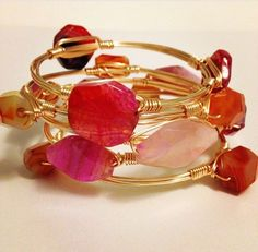 Mother's Day Stack of 3 Bangles by YankeeBelleCo on Etsy