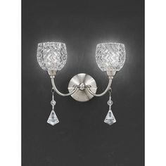 Franklite Sherrie Satin Nickel Twin Wall Light