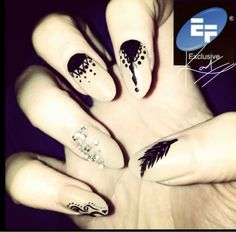 Acrylic extensions with Gellaco gel polish and hand painted art Hand Painting Art, Gel Polish, Print Tattoos, Extensions, Hand Painted, Nails, Beauty, Finger Nails, Ongles