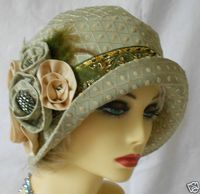 1920s VINTAGE INSPIRED GREEN BROCADE CLOCHE HAT FLAPPER GREAT GATSBY DOWNTON