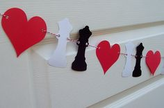 Queen of Hearts Party Banner Collection - Birthdays - Wedding - Shower - Alice in Wonderland. $9.00, via Etsy.