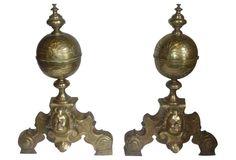 18th-C. Brass Andirons