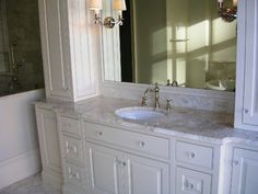 Best Color for Granite Countertops and white bathroom cabinets
