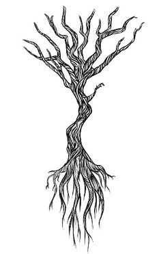 Naked / winter / dead Tree tattoo with roots