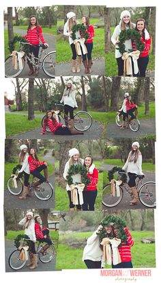 Morgan Werner Photography | Christmas Senior BFF Portraits with beach cruiser bicycle