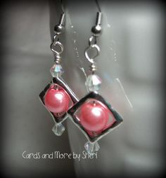 15% off all completed jewelry pieces in my Etsy store for the month of December!  Hurry and shop today!  Pearl Bead Frame Earrings  Pink by CardsAndMoreBySheri on Etsy, $10.00