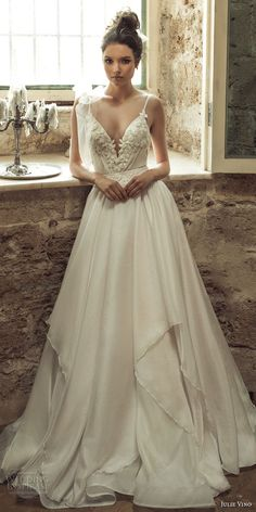 julie vino 2017 bridal spagetti strap deep v neck heavily embellished bodice romantic sexy a  line wedding dress open v back sweep train (1261) mv  -- Romanzo by Julie Vino 2017 Wedding Dresses #wedding #bridal #weddingdress