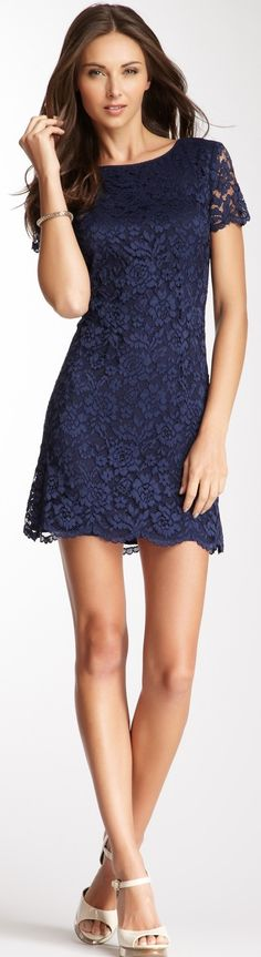 Short Sleeve Lace Shift Dress ♥✤ | Keep the Glamour | BeStayBeautiful