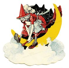 Crazy Witch Flying Over the Moon on Her Broom! From Old Antique Halloween Image!  Old Vintage ILLUSTRATION! DIGITAL DOWNLOAD. In Full Color