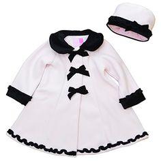 Newborn girls pink fleece coat with velvet trim and matching hat