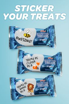 Ooey, chewy Rice Krispies Treats are more than just a tasty treat, they're also a perfect canvas for showing your little ones just how much you care about them! From encouraging messages to friendly reminders, a little note can go a long way. Why stop there? Customize their treats with a sticker or two for a bit of added fun, and ensure that each snack is a memorable one.
