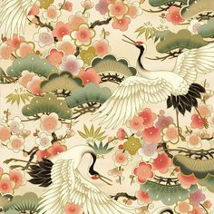 Cotton, Japanese metalic print fabric featuring cranes in flight on a Cream background from the Quilt Gate Asian collection by designer Hyakka Ryoran Japanese Textiles, Japanese Patterns, Japanese Prints, Japanese Paper, Japanese Fabric, Japanese Crane, Fabric Patterns, Print Patterns, Oriental Print