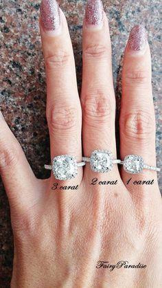 3 Ct Cushion Cut Halo Engagement / Promise Ring by FairyParadise #weddingring