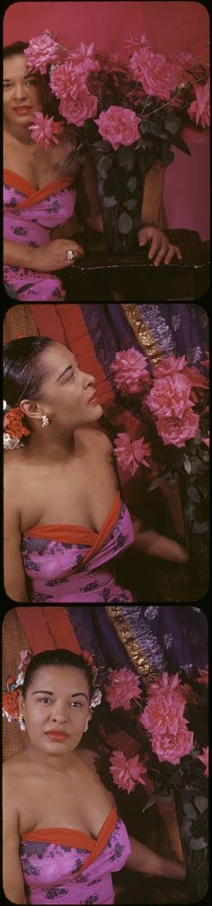 Billie Holiday, 1949 by Carl Van Vechten. [Lady Day swaps gardenias for roses so as not to be like Dinah!]