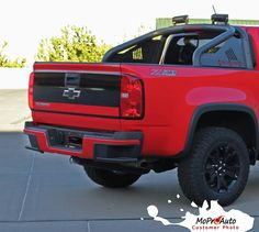 2015 2016 2017 Chevy Colorado GRAND Tailgate Blackout Accent Vinyl Graphics, Decals, and Stripes Kits and Packages. Professional Factory OEM Style Vinyl Graphics - Pre-Cut and Designed, Ready to Install! For Automotive Restylers and Dealers!