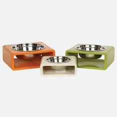 Mid-Century Modern in design, the Phorm dishes are groovy and functional. Finished in three hip colors as shown, these cast resin classics add simple style to y