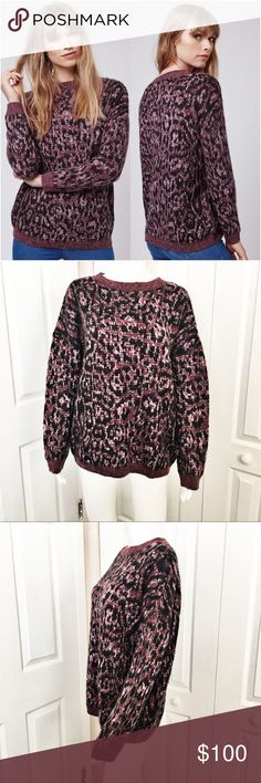 """Topshop Brushed Animal Jumper Animal print is the all rave this fall season. This sweater is finished with a super soft brushed yarn, and features an all over animal print pattern that is so on the trend. Wear it with your favorite denim for a casual cool look.  Sold out online.  Material tag has been listed.   Measurements laying flat:  bust 24"""" length from top of shoulder to hem 27"""" Topshop Sweaters Crew & Scoop Necks"""