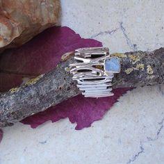 Mondstein Druse, Ring, Ø 18,0 mm, 925 Sterling Silber in Uhren & Schmuck…