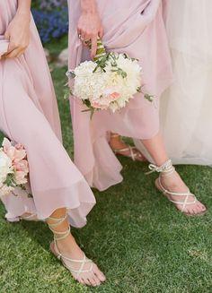 glamorous, elegant, whimsical-bright, blush, bridesmaids, dresses, pink, shoes, light, wedding, California
