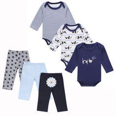 6PCS Baby Girls Clothes Set Bodysuits + Pants Long Sleeve Newborn Infant Clothing Baby Boy Clothing Set Casual Underwear Set